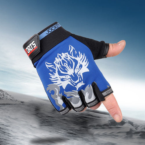 Wolf Logo Riding Half-finger Men's Gloves
