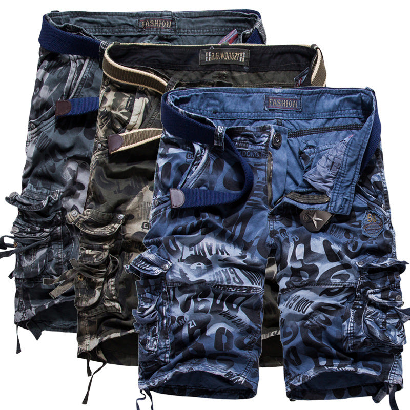 Casual Camouflage Printed Pure Color Men's Shorts - KINGEOUS