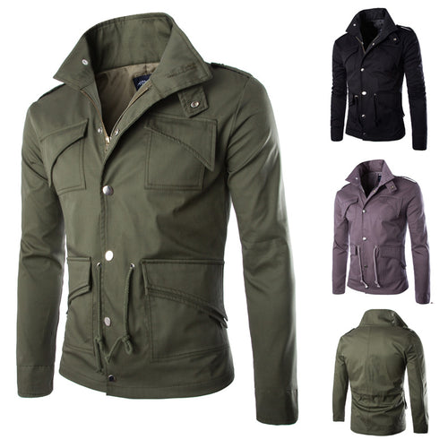 Thin Large Size Military Style Solid Color Men's Jacket