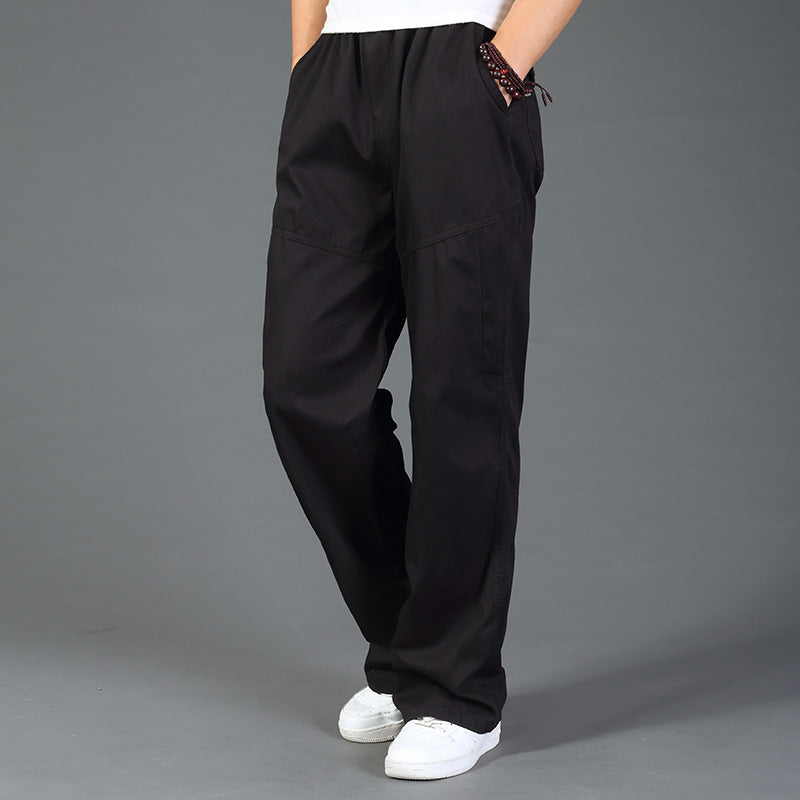 Simple Cotton Thicken Solid Color Men's Casual Pants