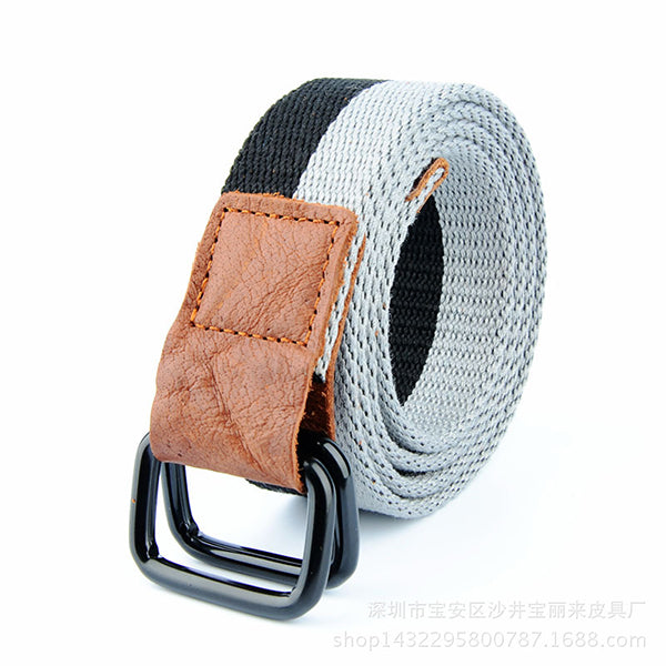 Casual Double Buckle Contrast Color Canvas Belt - KINGEOUS