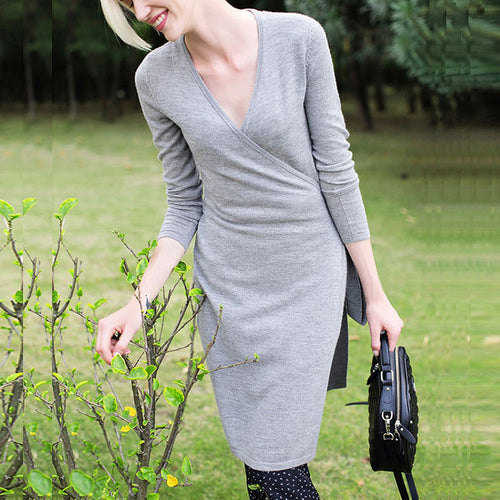 Simple Long Sleeve Deep V-neck Slim Cardigan Dress
