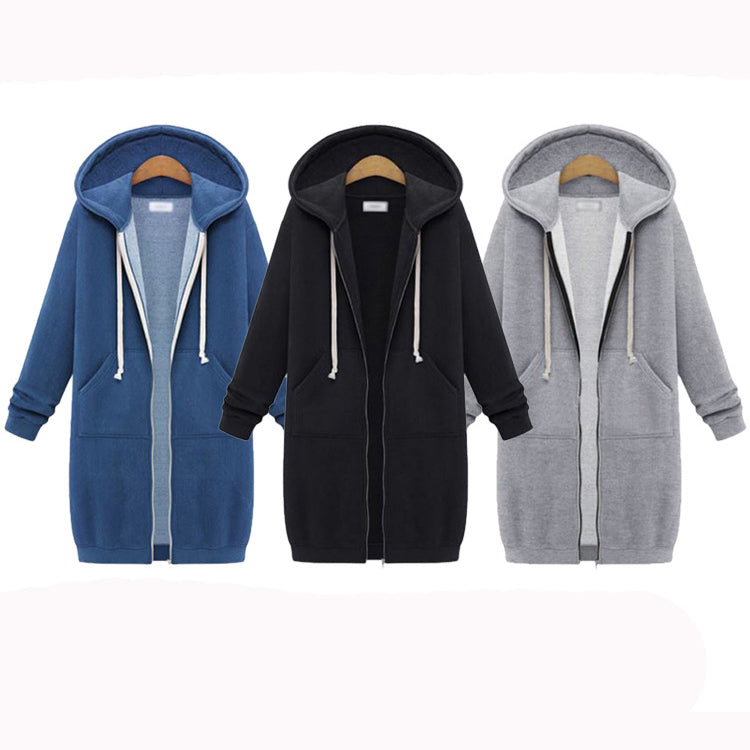 Casual Hoodied Thicken All-match Women's Long Hoodie - KINGEOUS