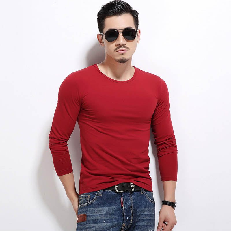 Solid Color Round Neck All-match Long Sleeve Men's T-shirt