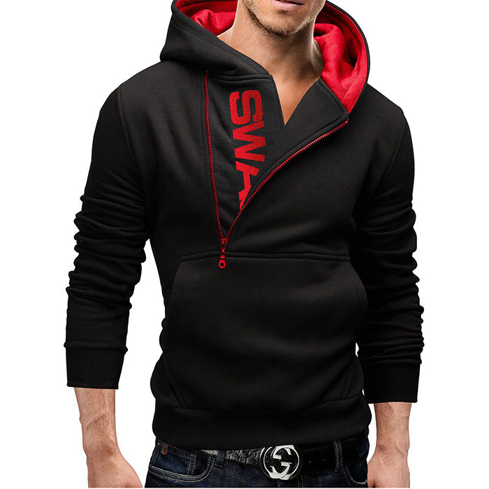 Plus Size Contrast Color Pullover Side Zipper Men's Hoodie