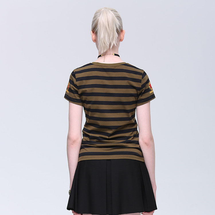 Casual Cotton V-neck Striped Women's T-shirts