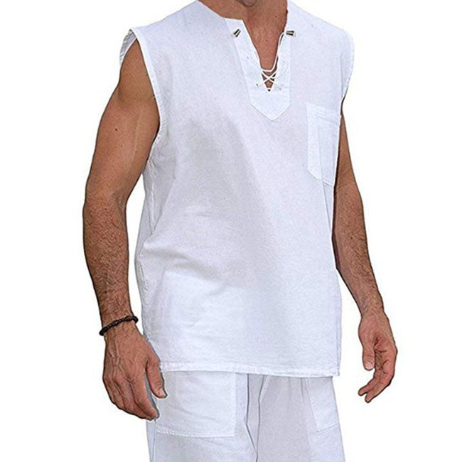 Solid Color Sleeveless Cotton and Linen Men Blouse