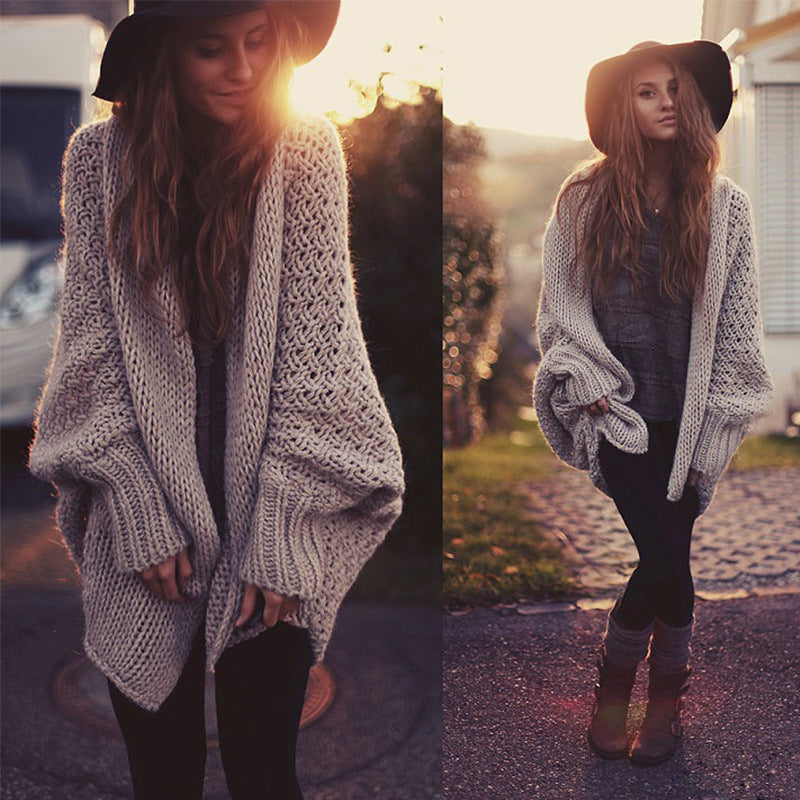 Casual Knit Solid Color Bat Sleeve All-match Cardigan - KINGEOUS