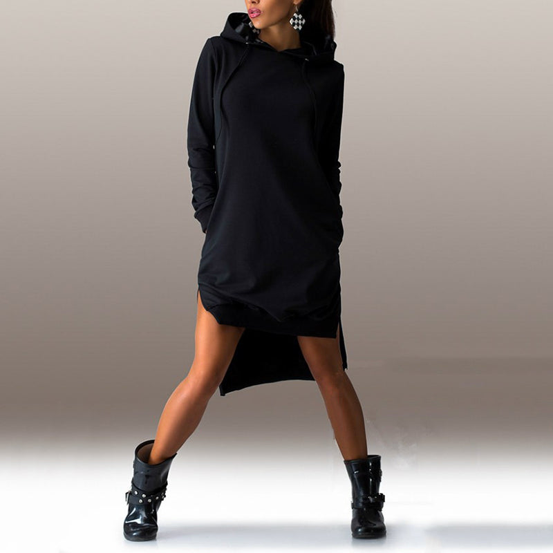 Casual Solid Color Hoodied Women's Long Hoodie - KINGEOUS