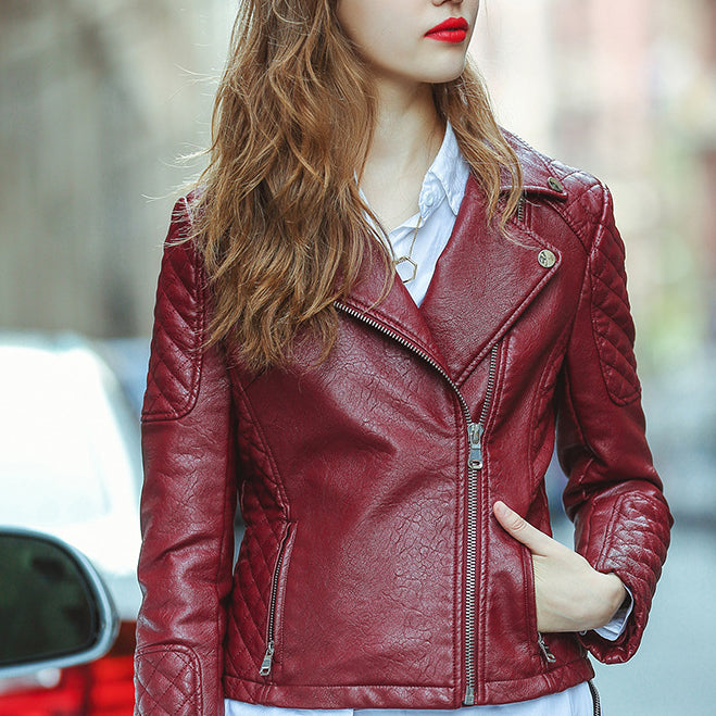 Fashion High Quality Wine Red Lapel Faux Leather Short Jacket - KINGEOUS