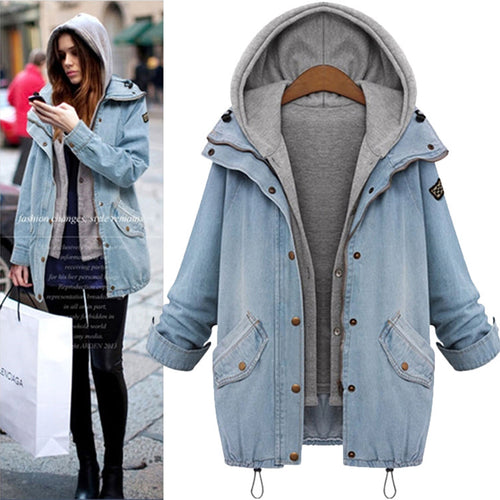 Fashion Denim Hoodied Thicken Detachable Women's Overcoat - KINGEOUS