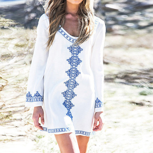 Bohemia Pattern Printed Beach V-nack Short Dress - KINGEOUS