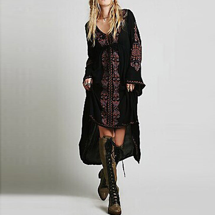 Bohemia Handmade Embroidery Deep V-neck Daily Long Dress - KINGEOUS