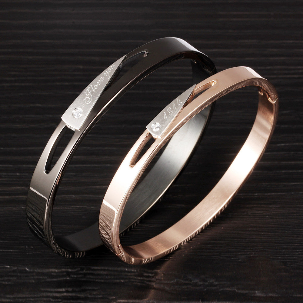 Charming Hollow Plating CZ Inlaid Stainless Steel Couple Bracelets - KINGEOUS