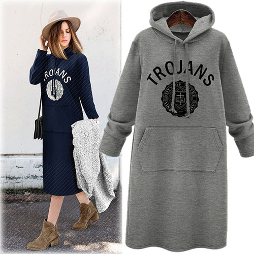 Causal Hoodied Printed Thicken Women's Long Hoodie Dress - KINGEOUS