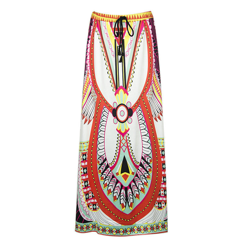 Boho Pattern Printed Split Joint Long Skirt(2 Colors) - KINGEOUS