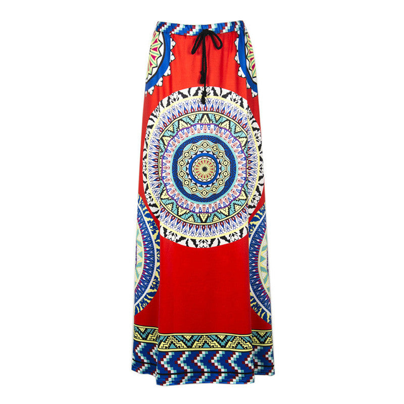 Wonderful Pattern Printed Split Joint Orange Long Skirt