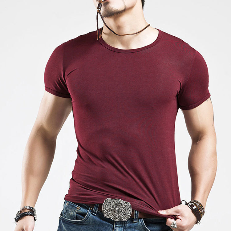Simple Round Neck Plus Size Solid Color Men's T-shirt