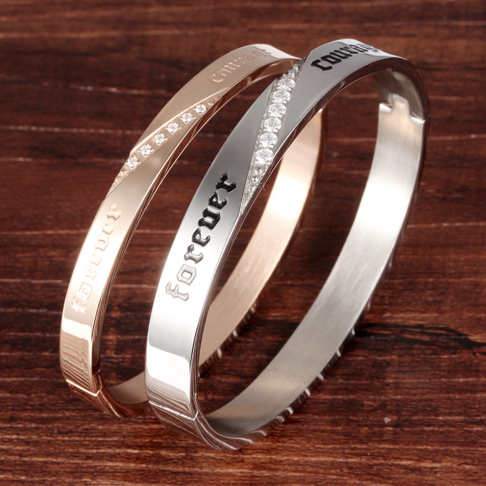 Forever Courage Printing CZ Inlaid Stainless Steel Couple Bracelets - KINGEOUS