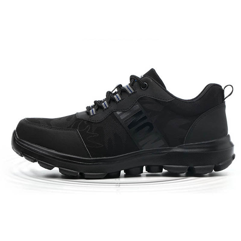 Breathable Safety Shoes for Men, Black Men's Sport Work Shoes - KINGEOUS