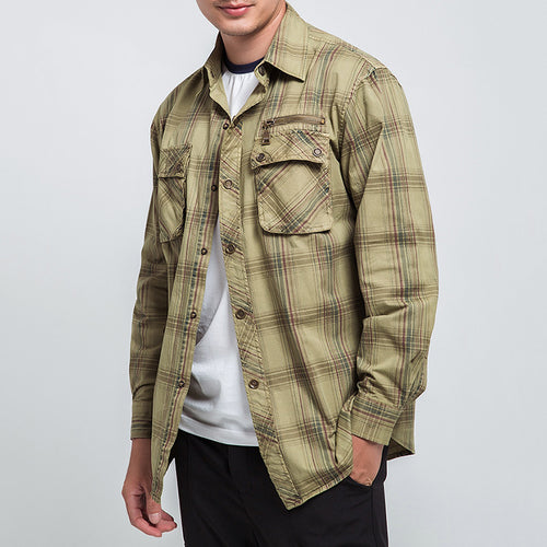 Cotton Long Sleeve Comfort Wear Resistance Plaid Men's Shirt