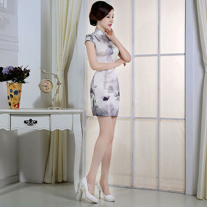 Ink Lotus Printed Silk Slim Short Cheongsam Dress - KINGEOUS