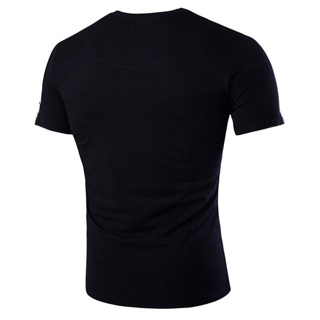 Casual  Deep-V Slim Solid Color Men's T-shirt - KINGEOUS