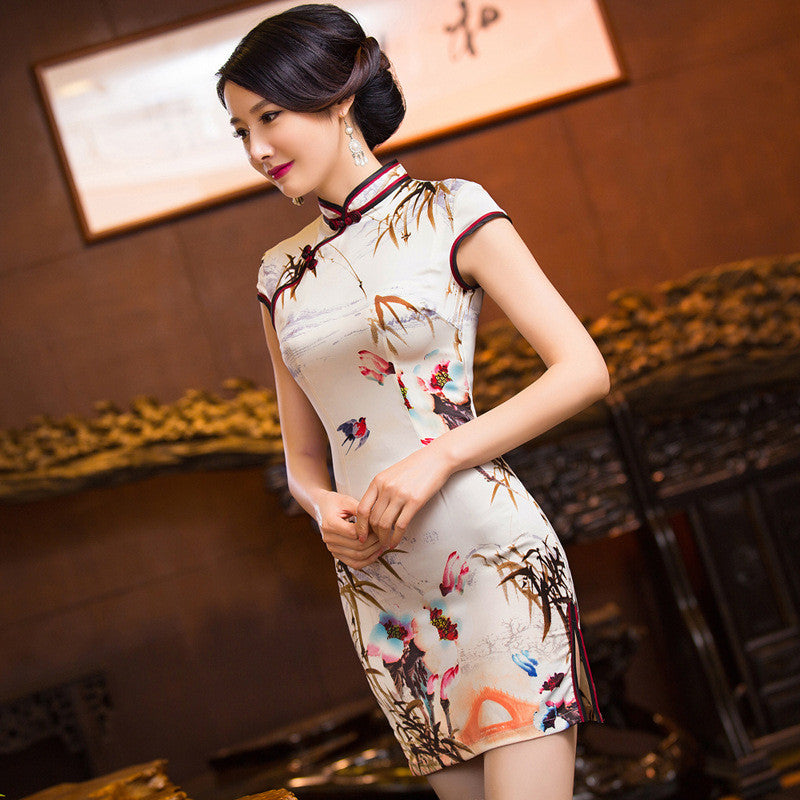 Slim Wonderful Flowers Printed Short Cheongsam Dress