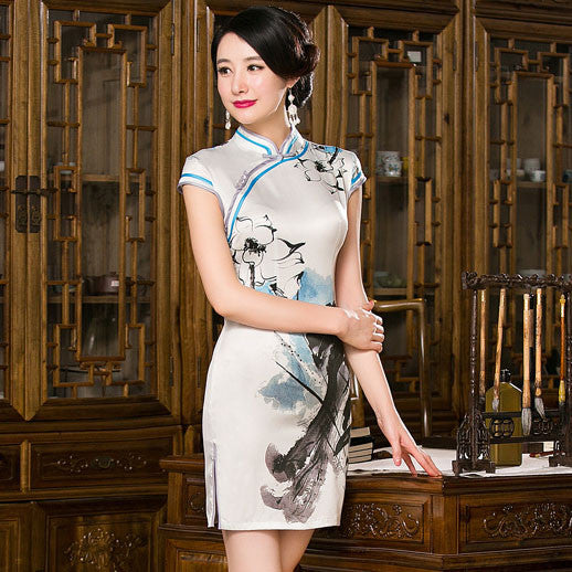 Ink Lotus Printed Tradition Short Cheongsam Dress - KINGEOUS