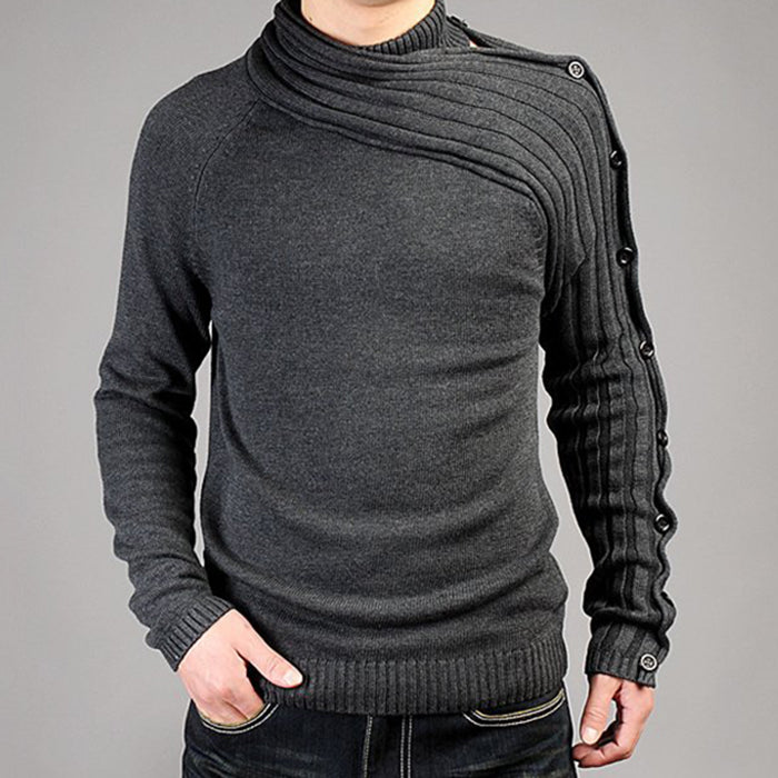 Asymmetry &Oblique Collar Design Men's Sweater - KINGEOUS