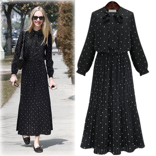 Charming Dots Printed Chiffon Women Maxi Dress - KINGEOUS