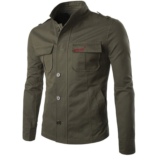 British Style Solid Color Embroidery Standing Collar Men's Cargo Jacket - KINGEOUS