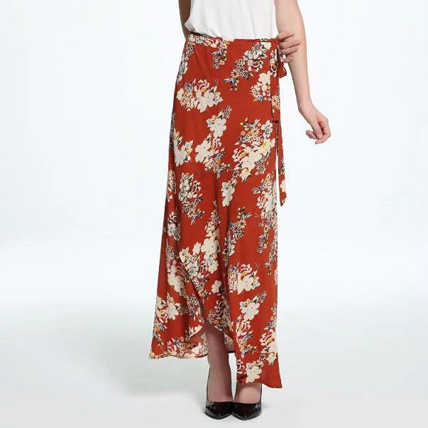 Flowers Printed Boho Beach Slim Long Skirt - KINGEOUS