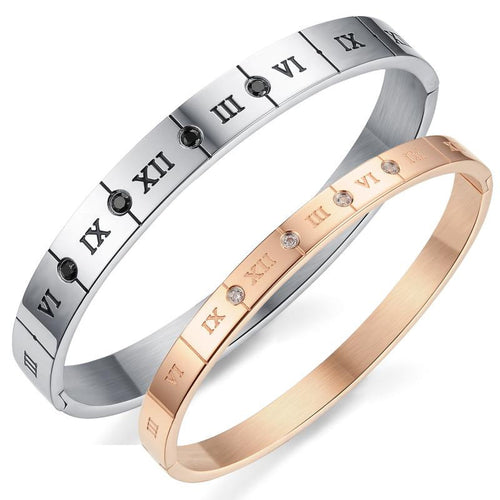 Roman Numerals Plating CZ Inlaid Stainless Steel Couple Bracelets