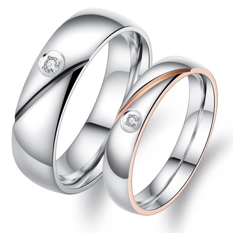 Simple Plating CZ Inlaid Stainless Steel Couple Rings