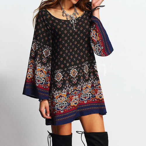 Baroque Printed Trumpet Sleeve Round Neck Loose Short Dress - KINGEOUS