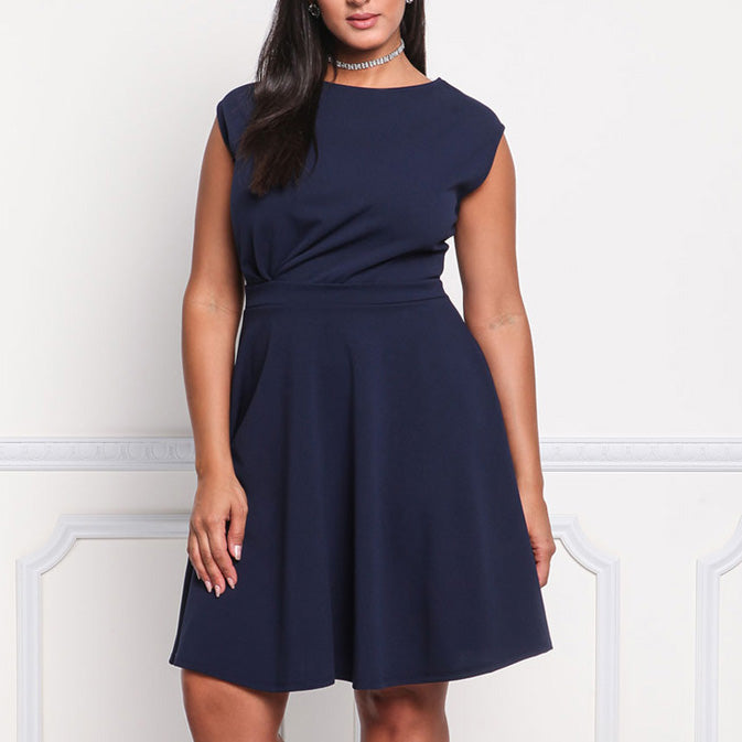 A-line Solid Color Sleeveless High Waist Plus Size Short Dress - KINGEOUS