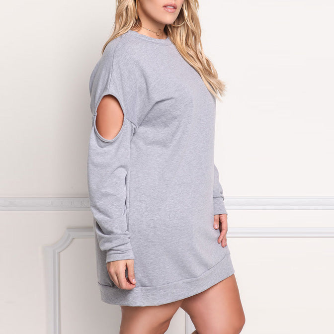 Casual Hollow Round Neck Solid Color Plus Size Hoodie Short Dress - KINGEOUS