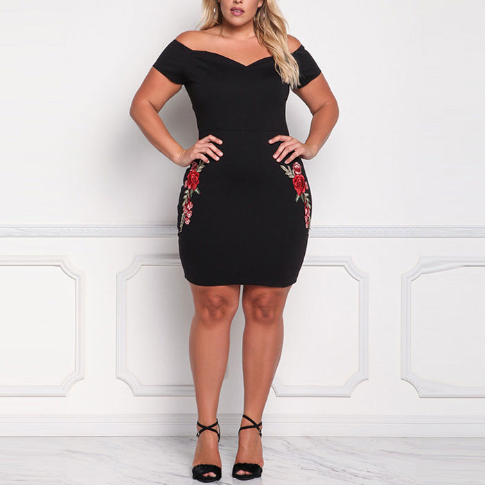 Boat Neck Black Slim Embroidery Plus Size Short Dress - KINGEOUS