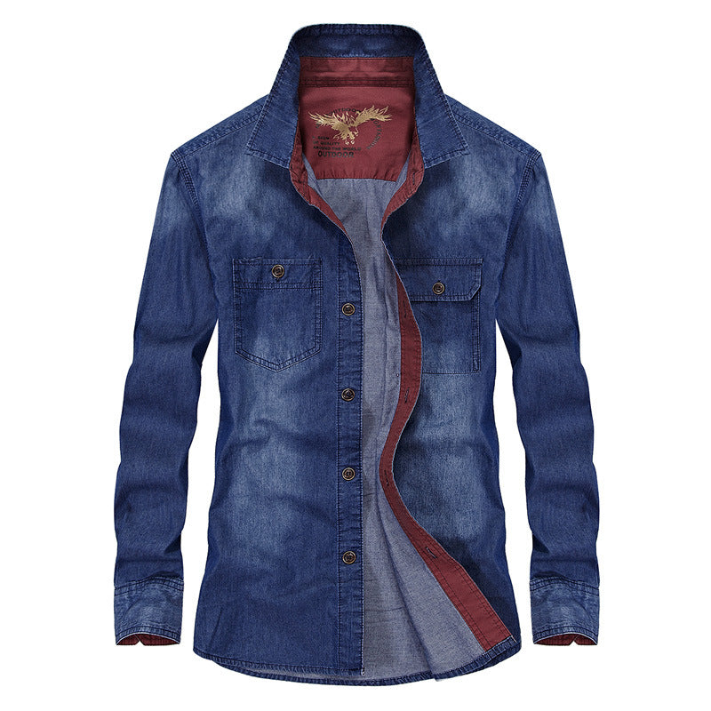 Fashion Loose Denim Cotton Long Sleeve Men's Shirt