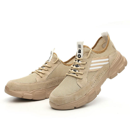Breath Safety Shoes for Men, Fly-knit Steel Toe Work Shoes - KINGEOUS