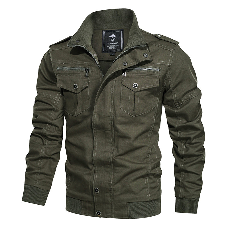 Solid Color Multi-pocket Outdoor Casual Men Jacket