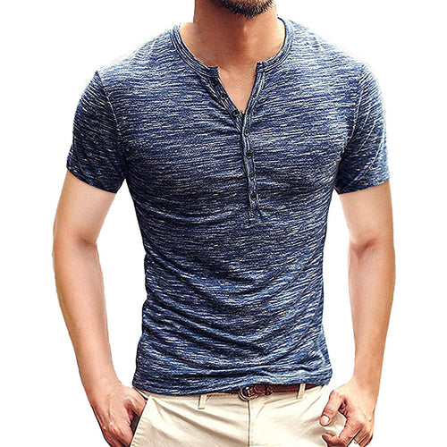 Fashion Casual Open Placket Men's Short Sleeve T-shirts