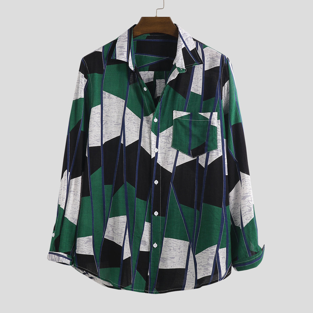 Split Color Print Shirt Holiday Long Sleeve Men's Shirt