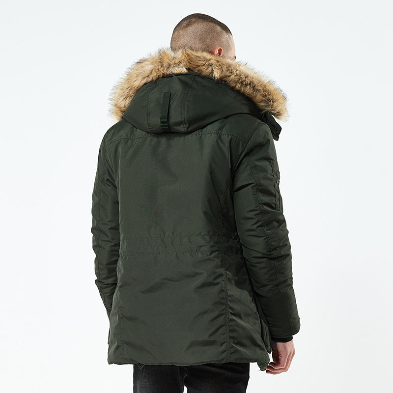 Outdoor Army Parka Thicken Detachable Hood Men Coat