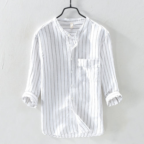 100% linen Cotton Middle Sleeve Men's Stripe T-shirt - KINGEOUS