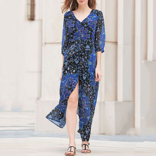 Blue Boho Pattern Printed V-neck Half Sleeve Beach Maxi Dress - KINGEOUS