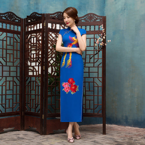 Flowers and Phoenix Printed Band Collar Blue Long Cheongsam - KINGEOUS