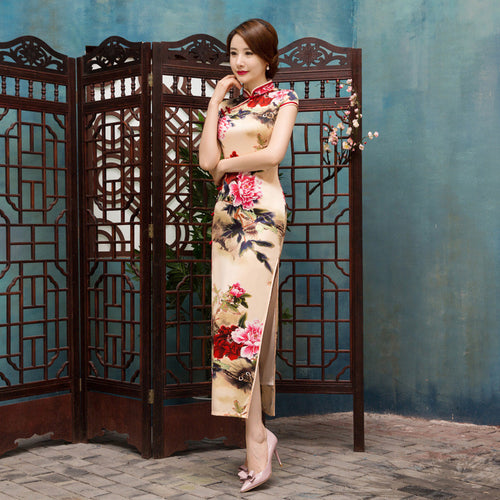 Retro Flower Printed Slim Cap Sleeve Silk Long Cheongsam for Women