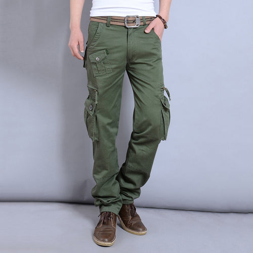 Casual Outdoor Pocket Solid Color Cargo Men Pants - KINGEOUS